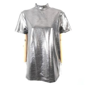 ASOS metallic silver tee mock neck